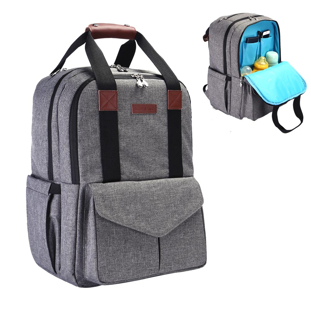 131a06f921343 iDxiar Baby Changing Rucksack, Large Nappy Change Backpack Waterproof Diaper  Bag for Mum Dad Travel w Changing Pad, Stroller Straps (Grey)